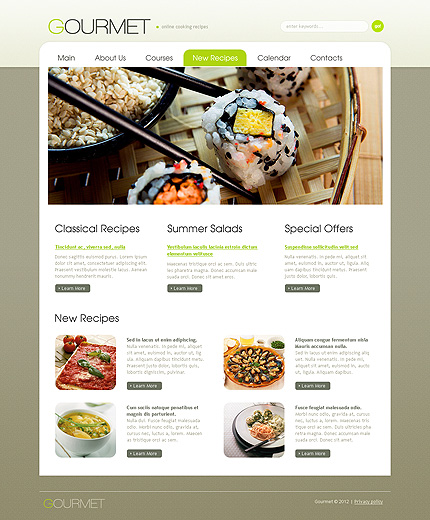 Template 38614 ( New Recipes Page ) ADOBE Photoshop Screenshot