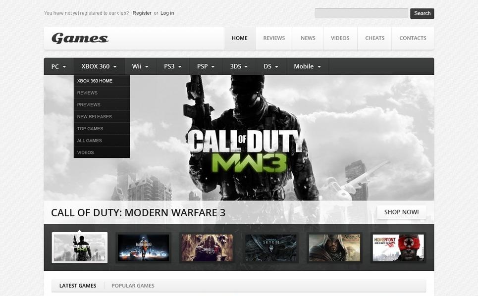 Szablon Strona Www #38628 na temat: portal gier New Screenshots BIG
