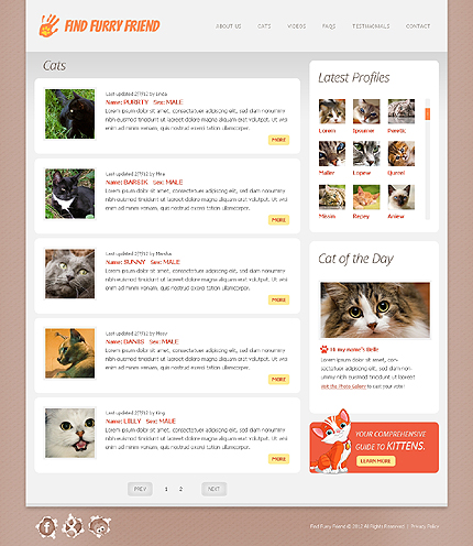 Template 38655 ( Cats Page ) ADOBE Photoshop Screenshot