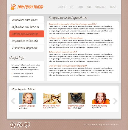 Template 38655 ( FAQs Page ) ADOBE Photoshop Screenshot
