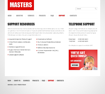 Template 38669 ( Support Page ) ADOBE Photoshop Screenshot