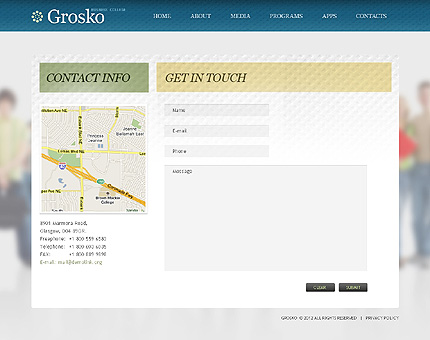 Template 38679 ( Contacts Page ) ADOBE Photoshop Screenshot