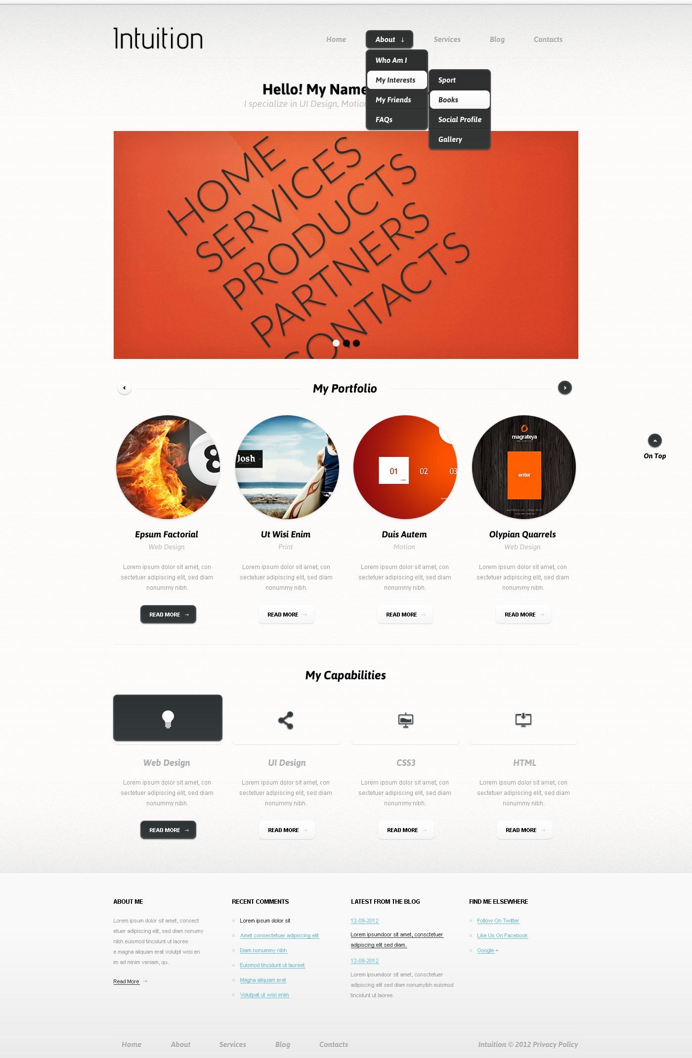 WordPress thema over Ontwerper portfolio №38695 - screenshot