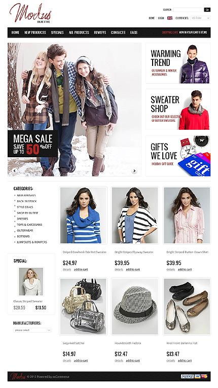 ZenCart Template 38767 Main Page Screenshot
