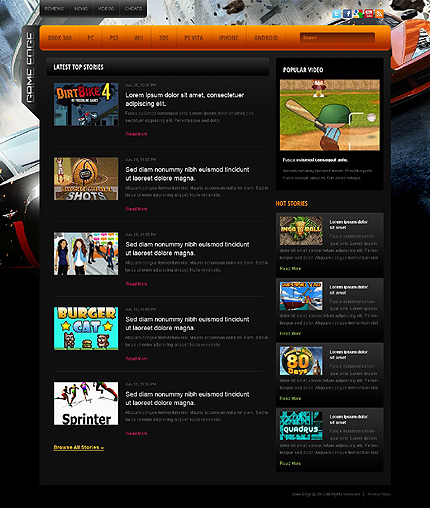 Games Website Template 38812, Website Templates - Zeronese