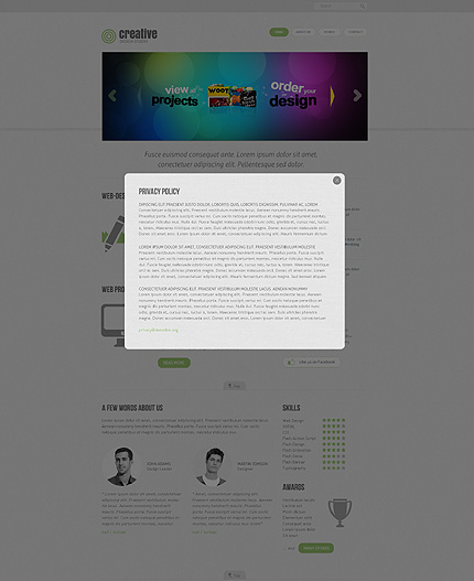 Template 38815 ( Privacy Policy Page ) ADOBE Photoshop Screenshot