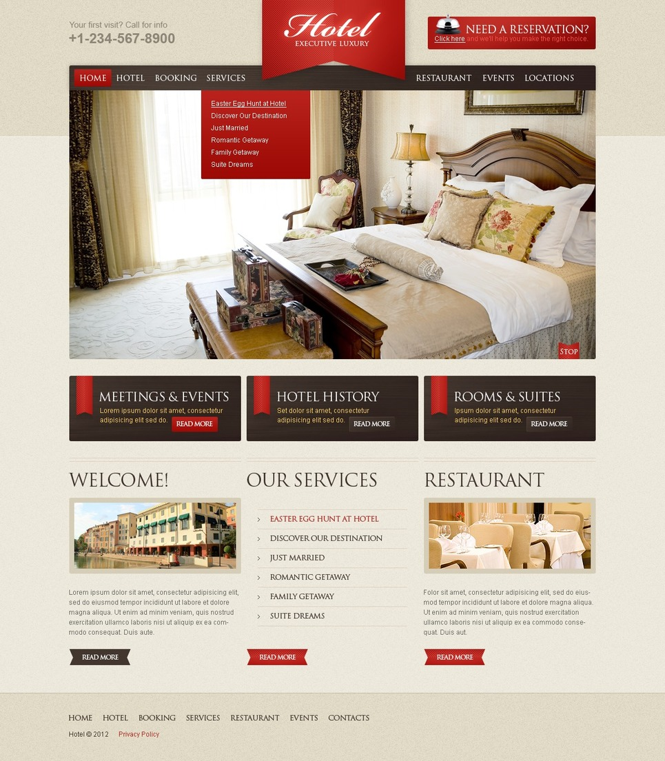 Executive Hotel Website Template #38839 by WT - Website Templates