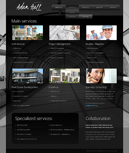 Template 38868 ( Services Page ) ADOBE Photoshop Screenshot