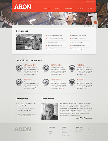 Template 38973 ( Services Page ) ADOBE Photoshop Screenshot