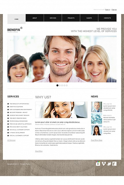 ADOBE Photoshop Template 38998 Home Page Screenshot