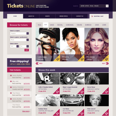 Ticket Bazar Flash CMS Template 42668 – Ticket Design Online Free