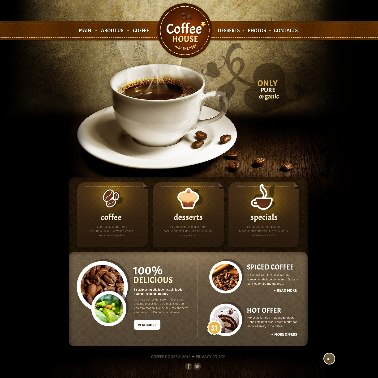 coffee shop joomla template 39035. Black Bedroom Furniture Sets. Home Design Ideas