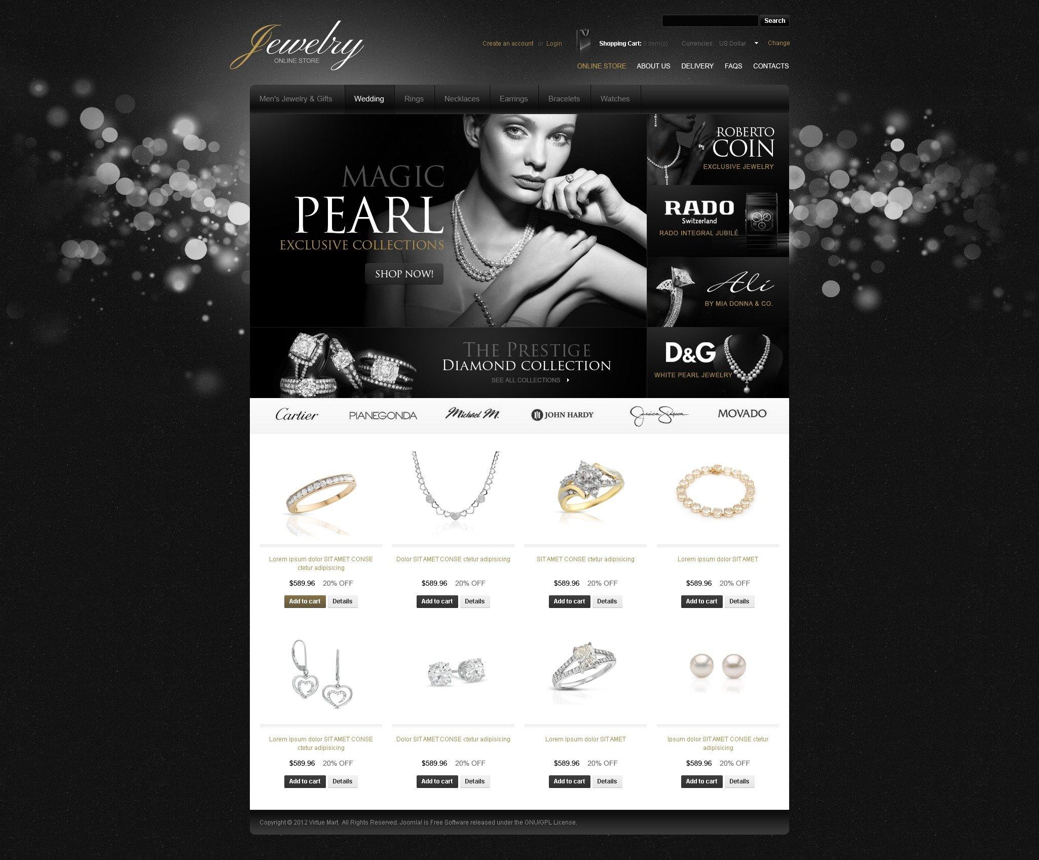 "Plantilla VirtueMart ""Dazzling Jewelry"" #39020 - captura de pantalla"