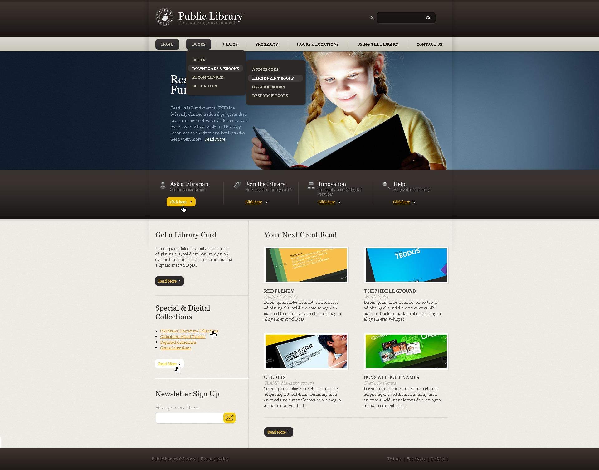 Plantilla Web #39047 para Sitio de Bibliotecas