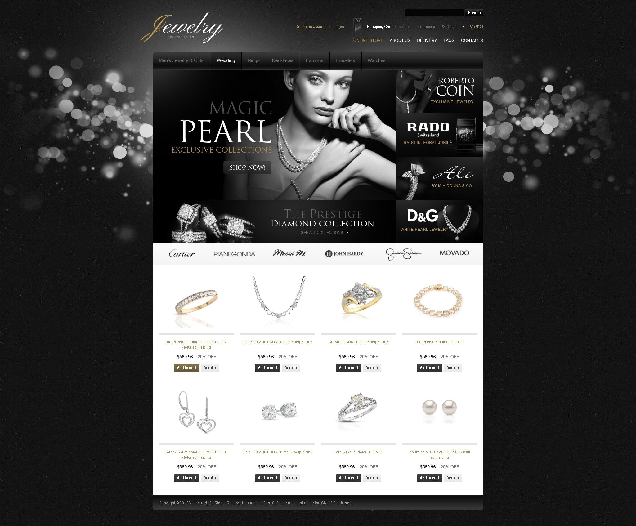 Szablon VirtueMart Dazzling Jewelry #39020 - zrzut ekranu