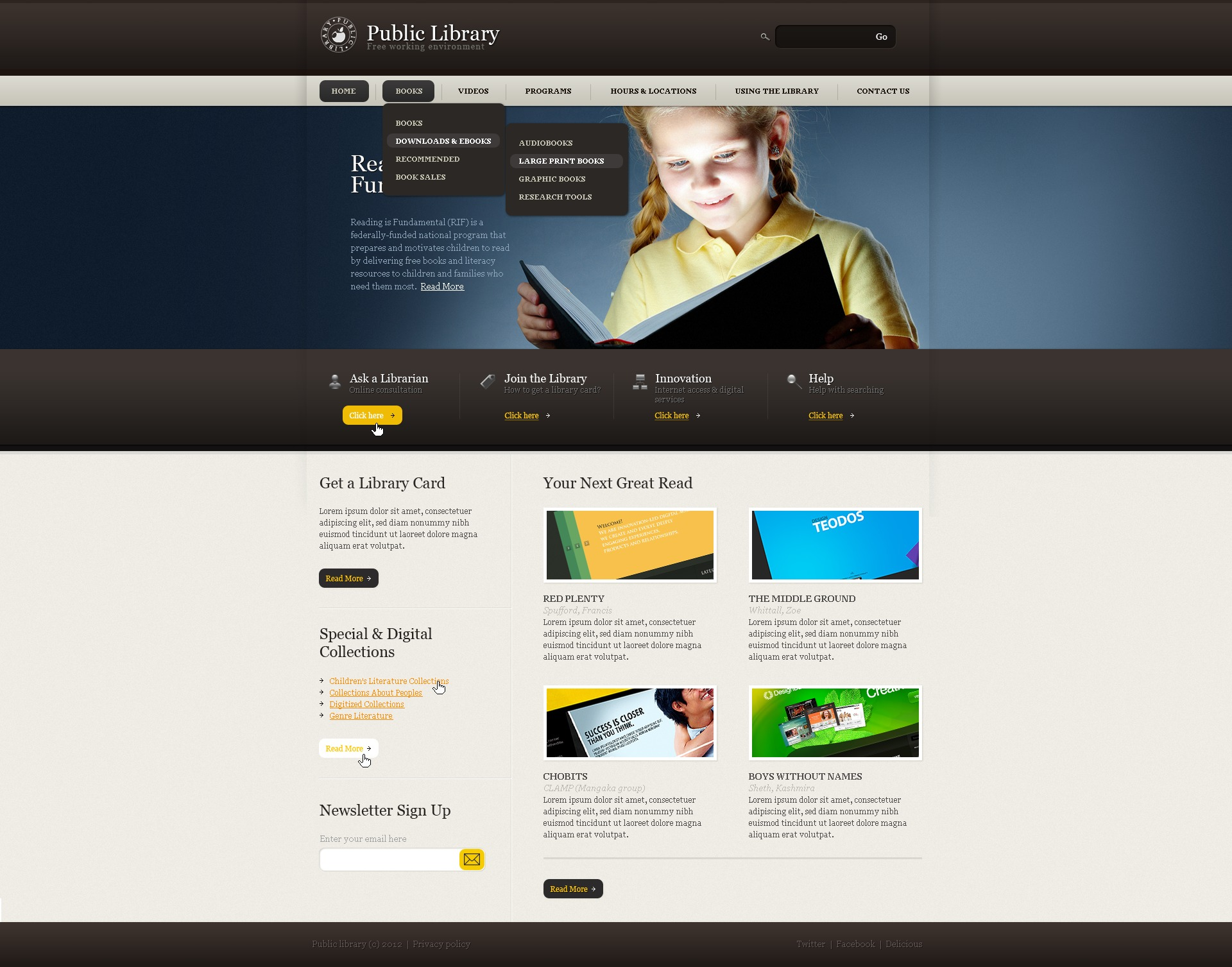 Website Vorlage #39047 für Bibliothek