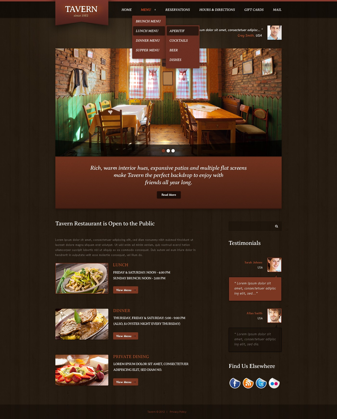 cafe and restaurant website template 39160
