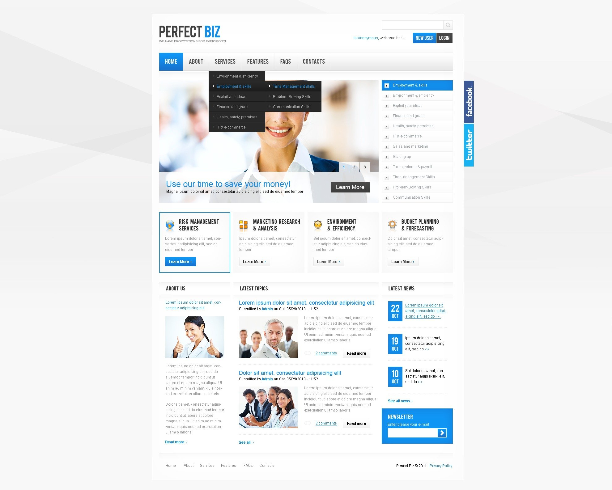 Management Company Facebook Flash CMS Template #39170