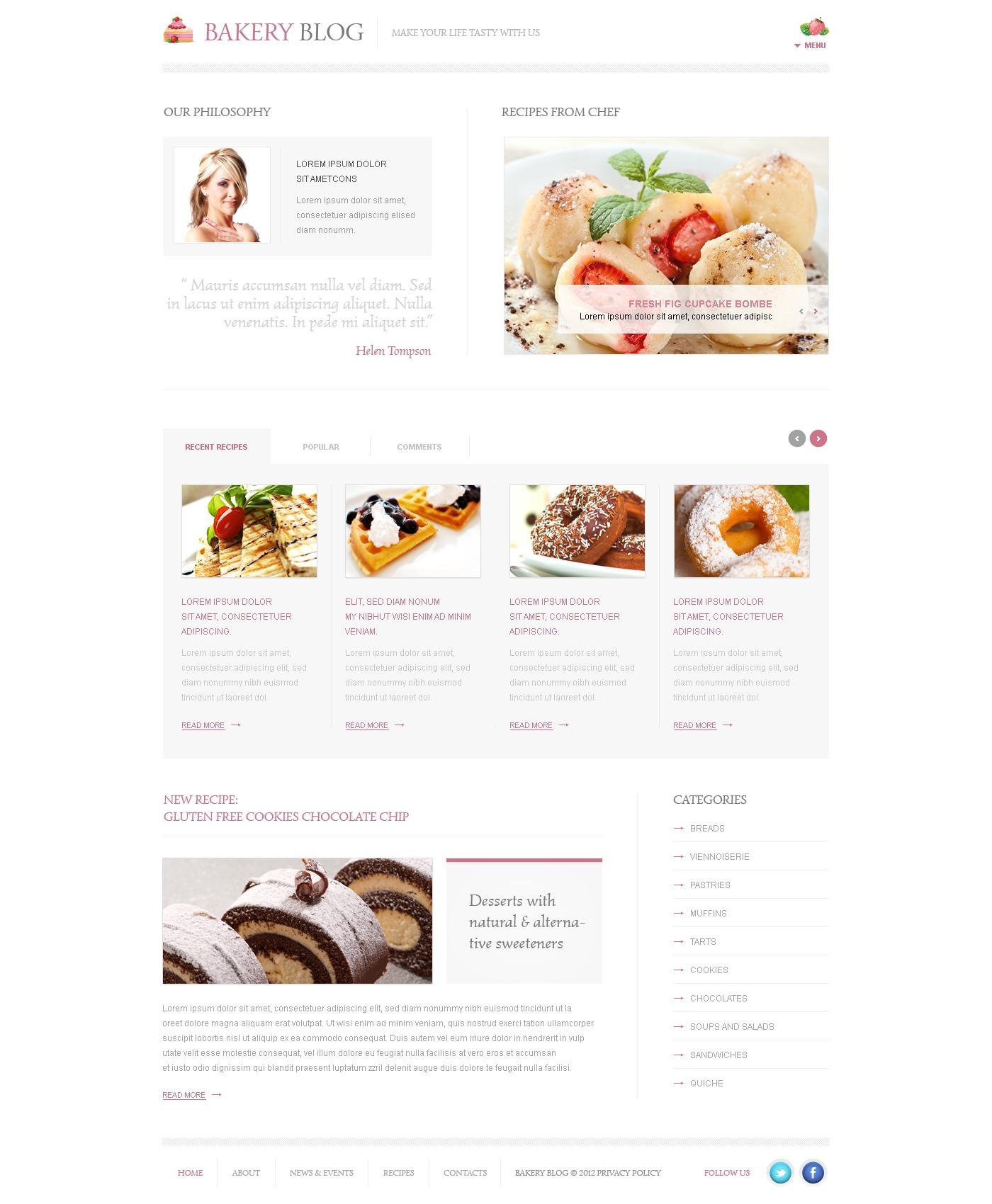 WordPress шаблон №39179 на тему хлебобулочные изделия - скриншот