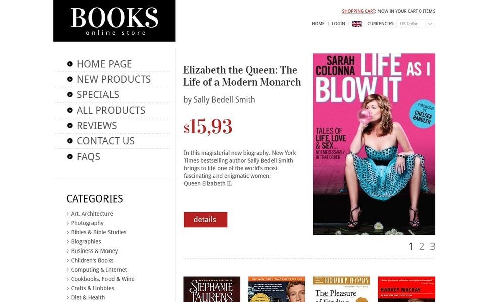 Szablon ZenCart #39206 na temat: książki New Screenshots BIG