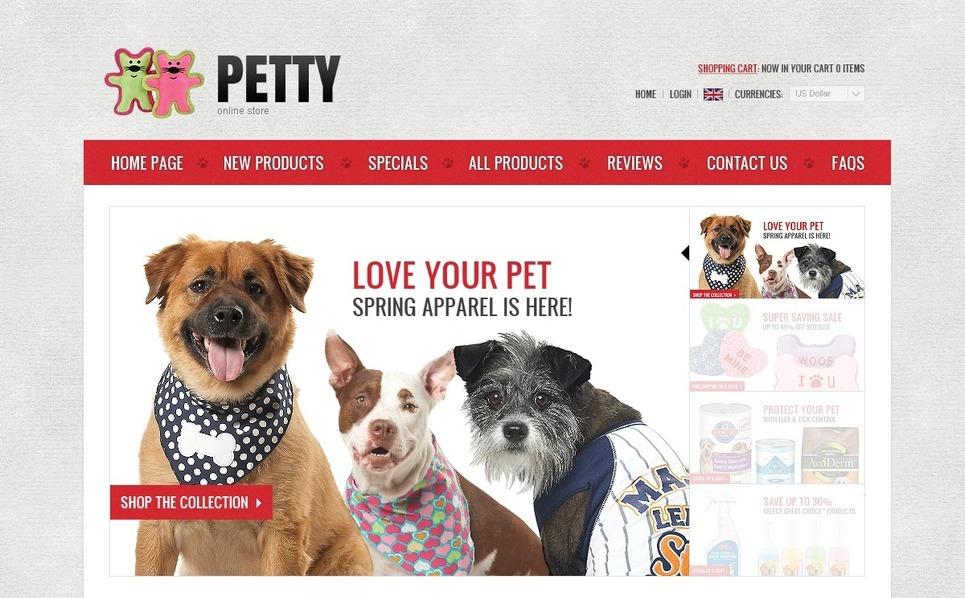 ZenCart šablona Obchod pro zvířata New Screenshots BIG
