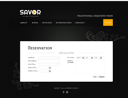 Template 39267 ( Reservations Page ) ADOBE Photoshop Screenshot