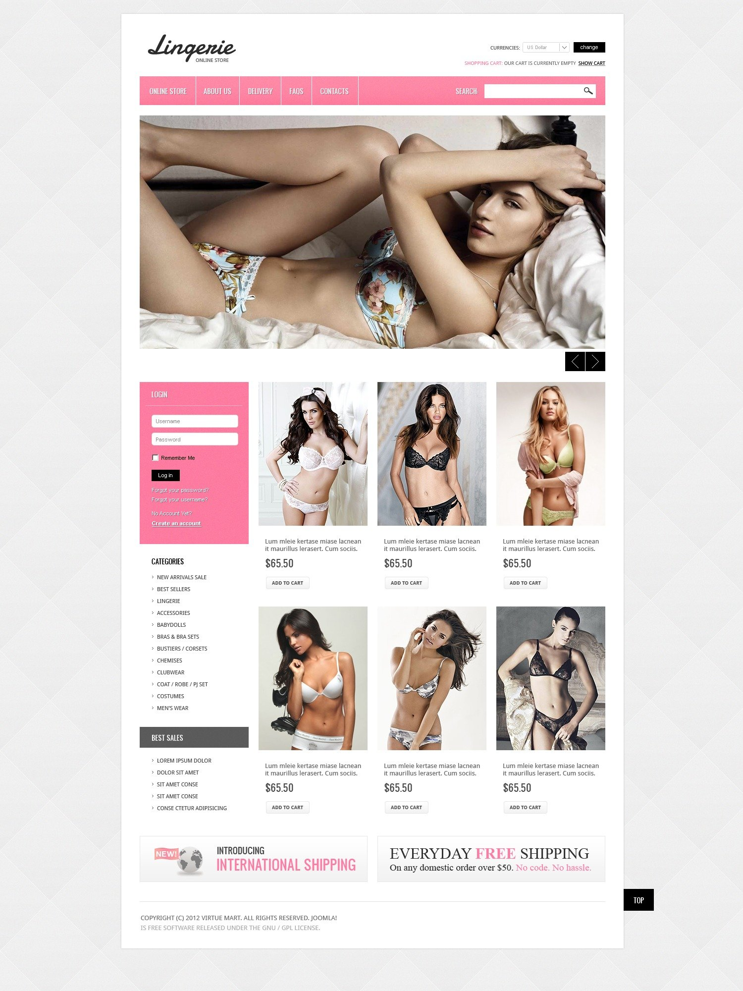 Erotic Lingerie Virtuemart Template