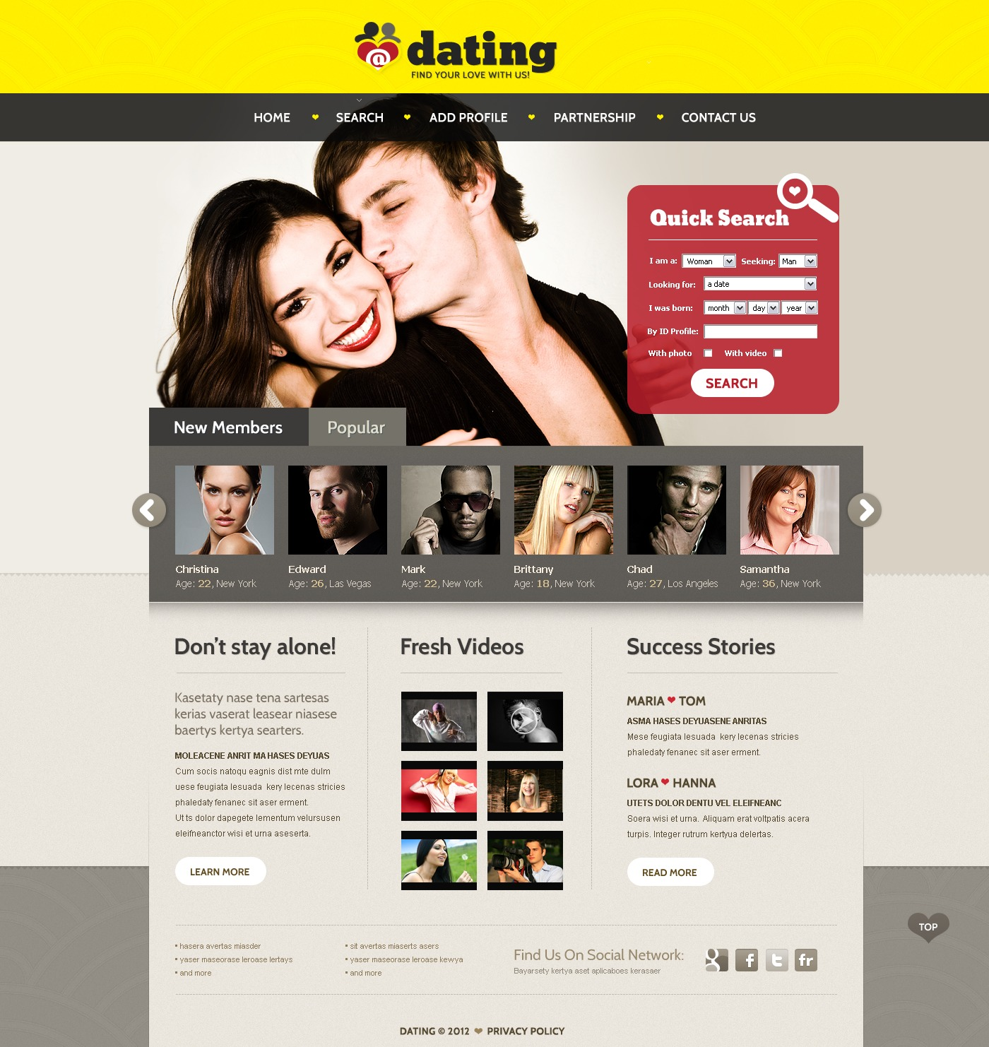 готовые шаблоны для сайта знакомства