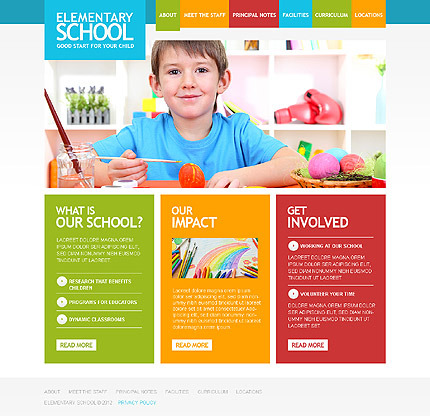 Primary School Responsive Website Template Desktop Layout