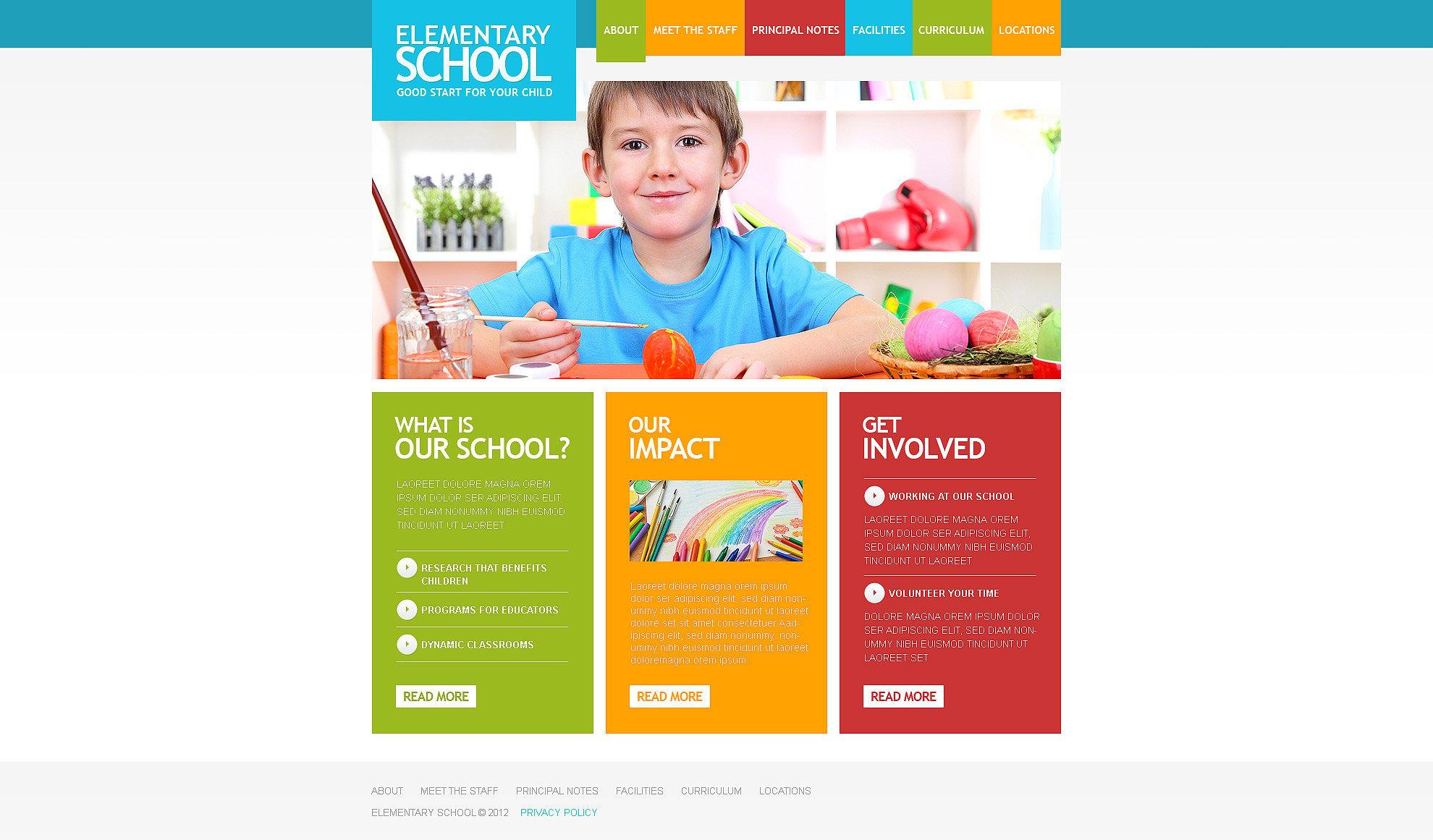 Responsive Website Vorlage für Grundschule #39379