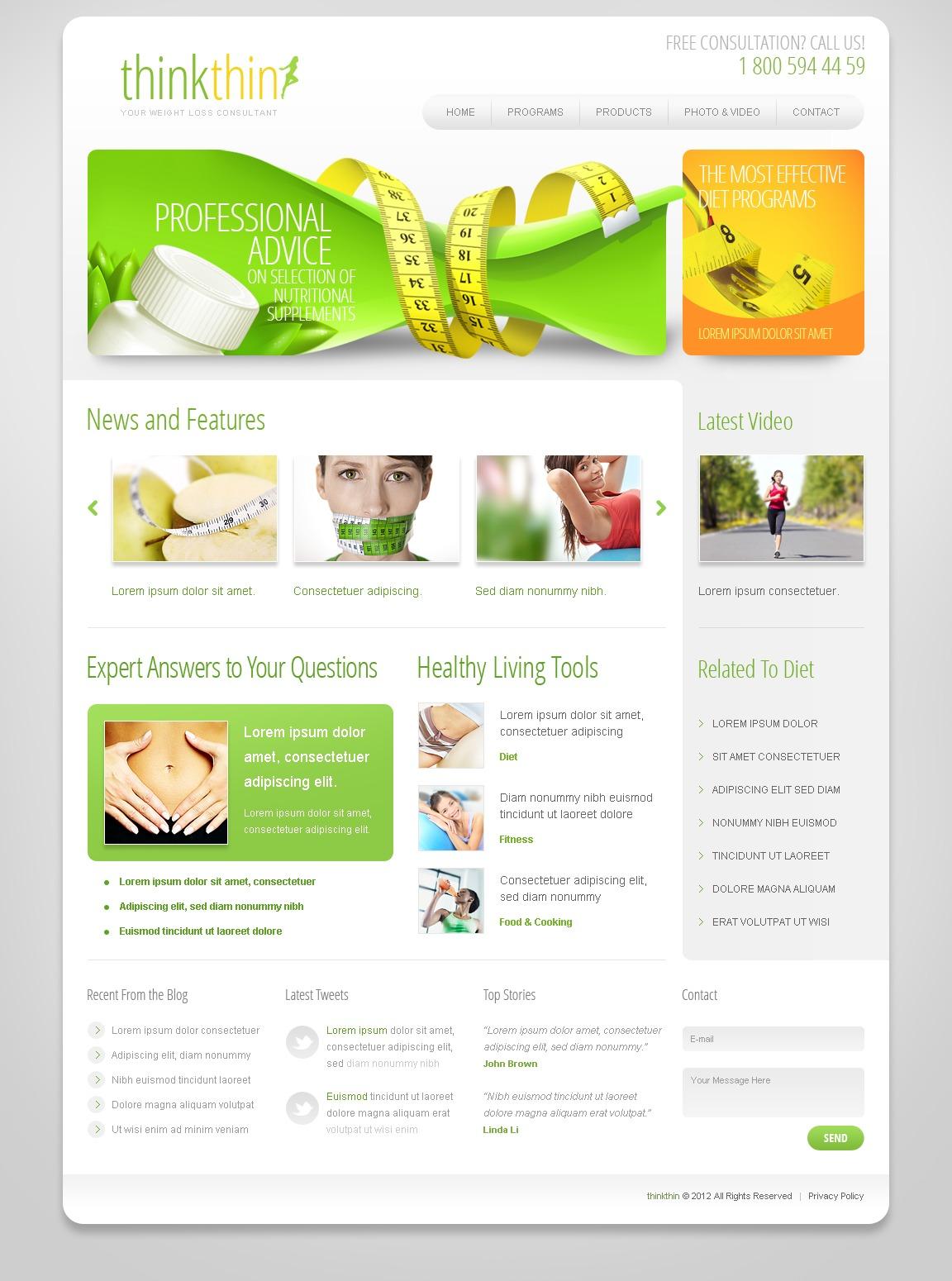 Weight Loss Website Template 39380