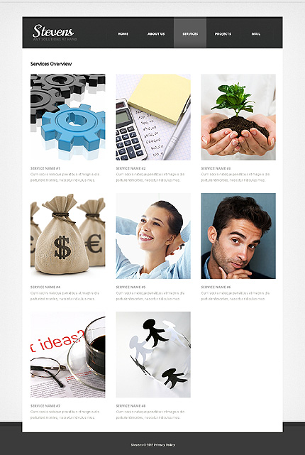 Template 39460 ( Services Page ) ADOBE Photoshop Screenshot
