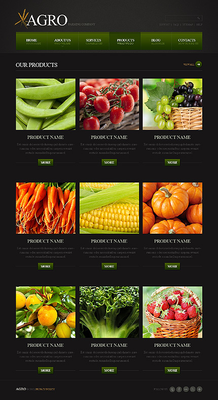 Template 39461 ( Products Page ) ADOBE Photoshop Screenshot
