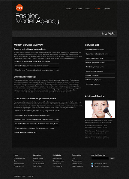 Template 39465 ( Services Page ) ADOBE Photoshop Screenshot