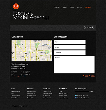 Template 39465 ( Contacts Page ) ADOBE Photoshop Screenshot