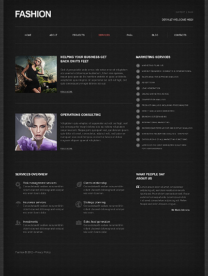 Template 39467 ( Services Page ) ADOBE Photoshop Screenshot