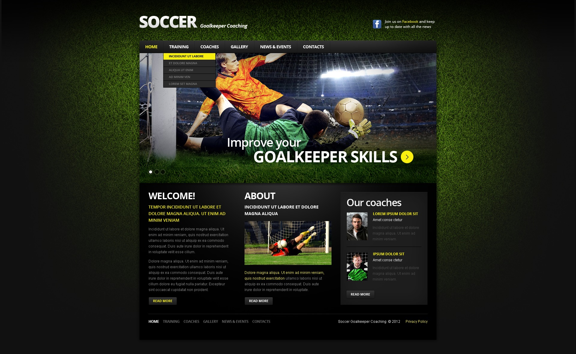 Responsive Website Vorlage Fur Fussball 39454