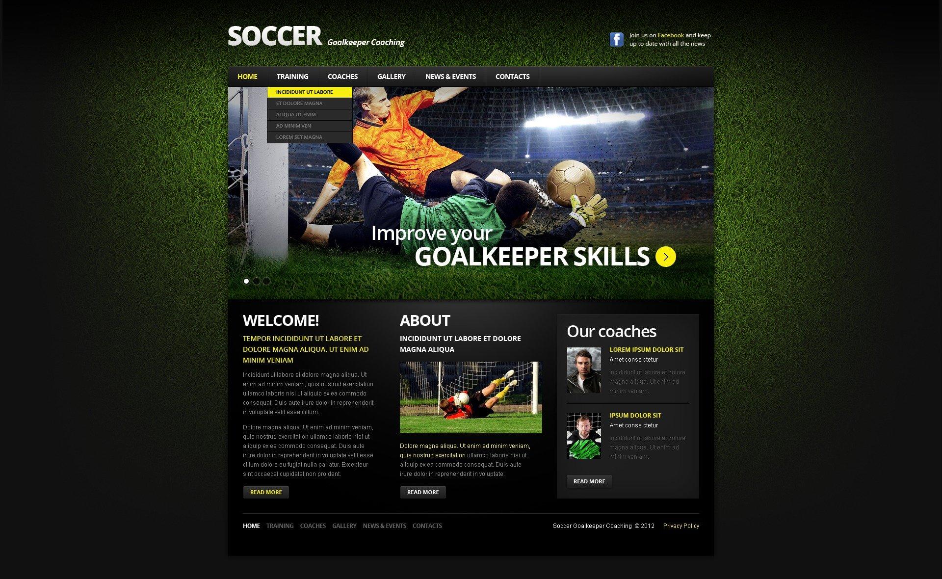 Soccer Responsive Website Template - Soccer website templates