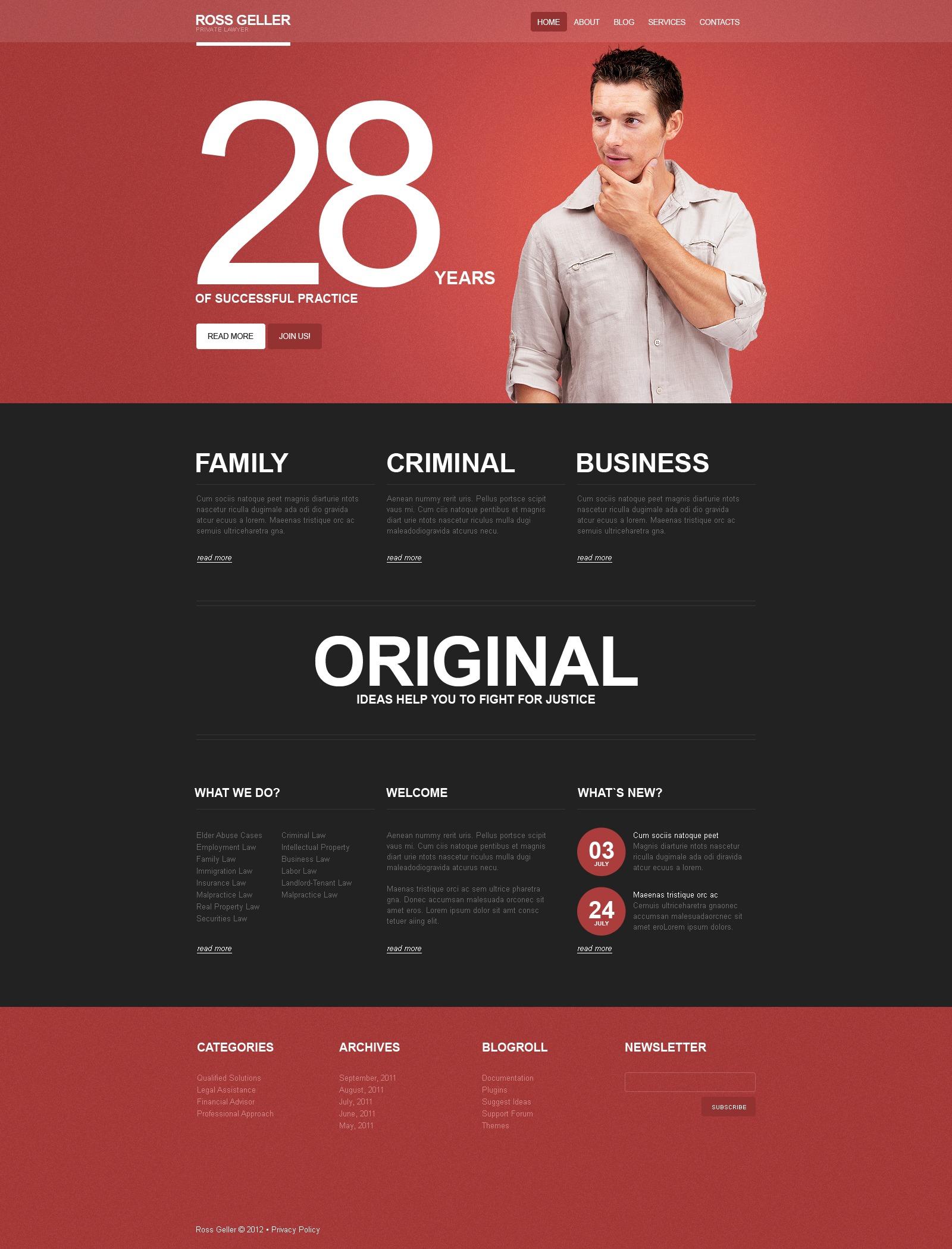 Tema De WordPress #39445 para Sitio de Abogados o licenciados - captura de pantalla