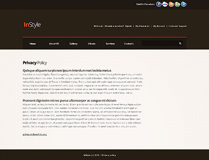 Template 39506 ( Privacy Policy Page ) ADOBE Photoshop Screenshot