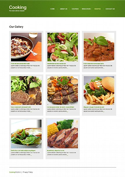 Template 39556 ( Recipes Page ) ADOBE Photoshop Screenshot