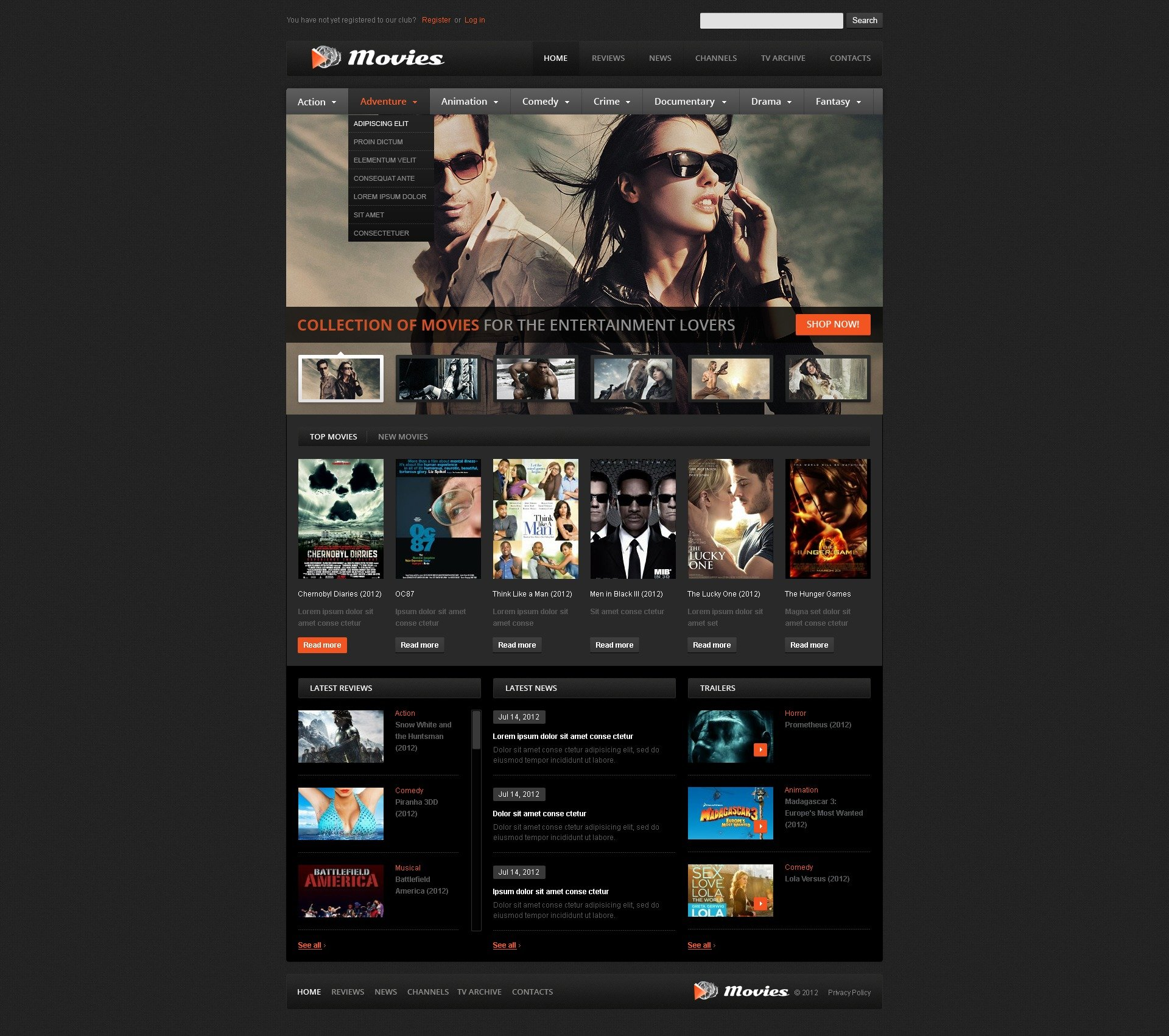movie website template 39510