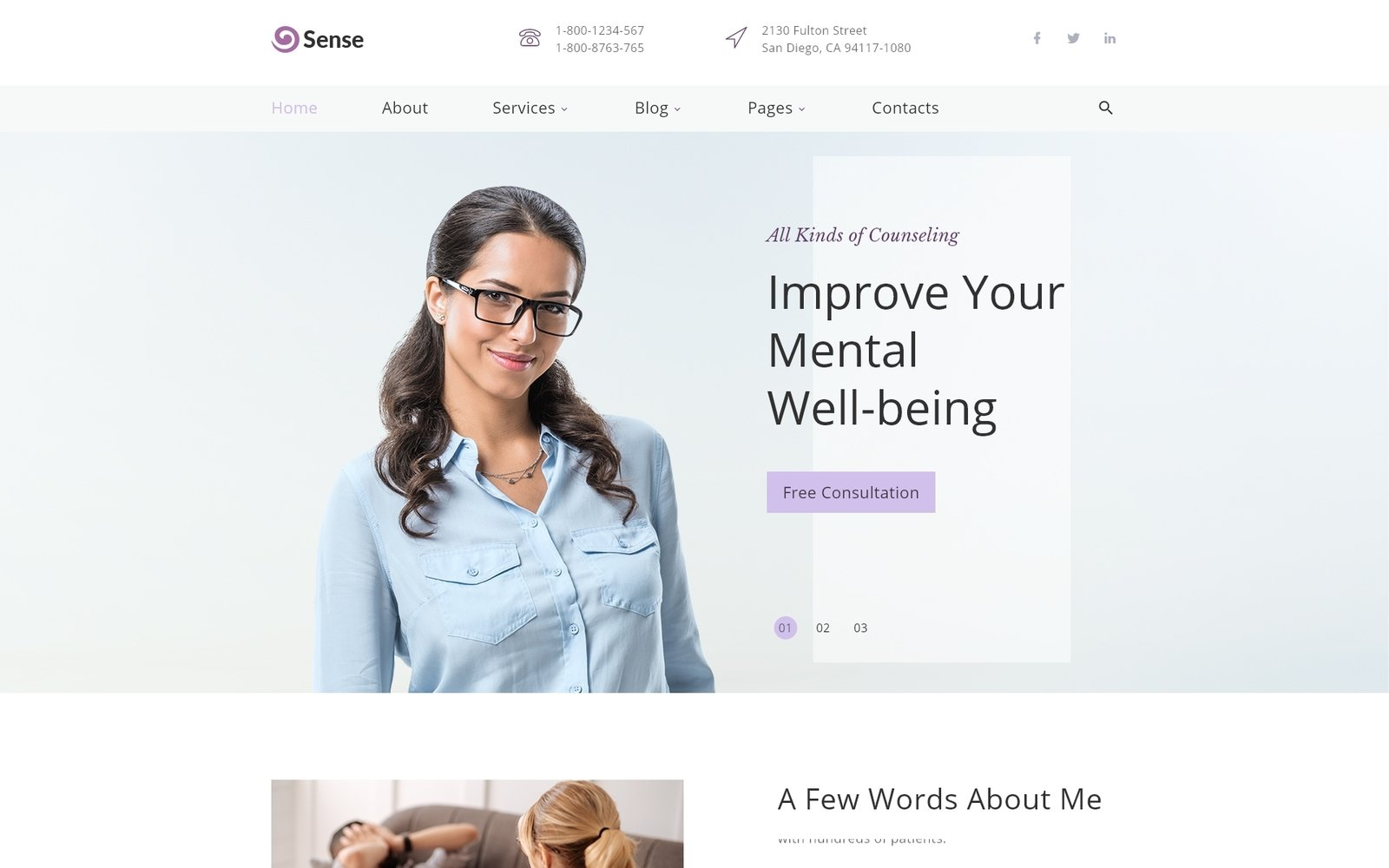 "Plantilla Web ""Sense - Psychologist Multipage Clean HTML"" #39554"