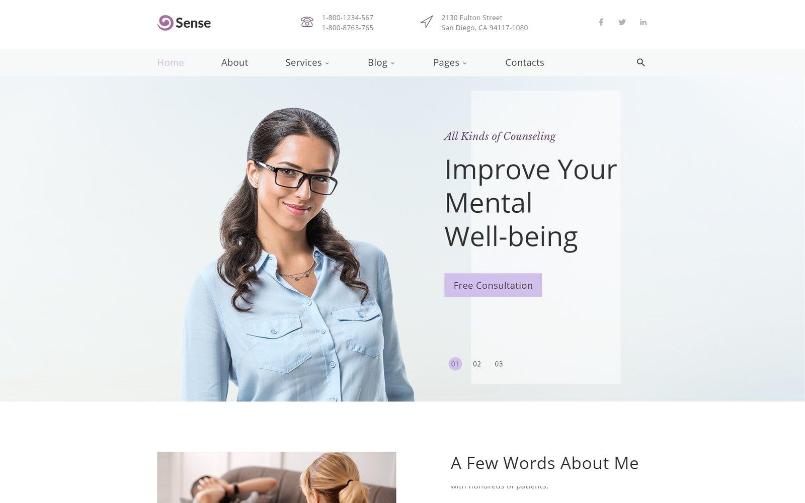 Responsivt Sense - Psychologist Multipage Clean HTML Hemsidemall #39554