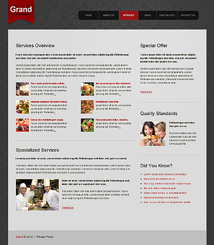 Template 39604 ( Services Page ) ADOBE Photoshop Screenshot