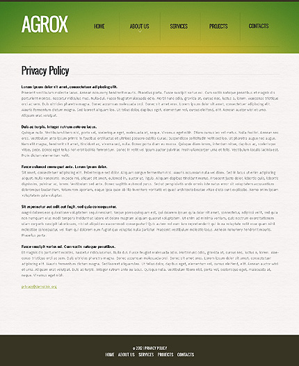 Template 39611 ( Privacy Policy Page ) ADOBE Photoshop Screenshot