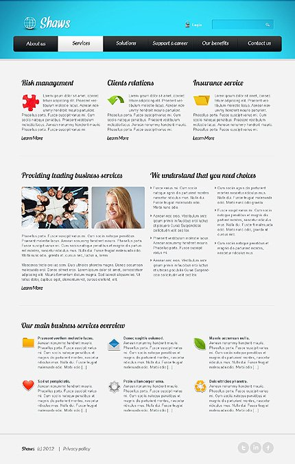 Template 39618 ( Services Page ) ADOBE Photoshop Screenshot