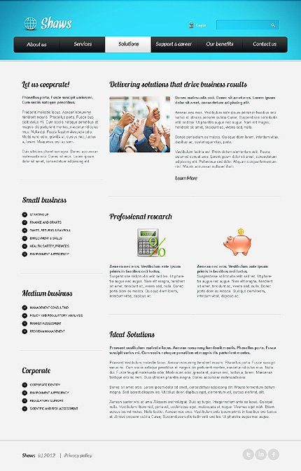 Template 39618 ( Solutions Page ) ADOBE Photoshop Screenshot
