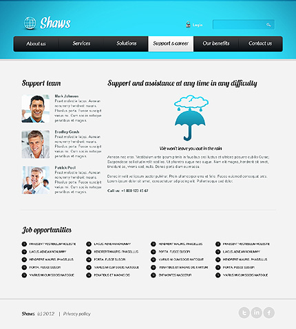 Template 39618 ( Support & Career Page ) ADOBE Photoshop Screenshot