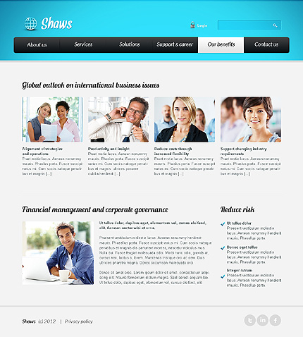 Template 39618 ( Our Benefits Page ) ADOBE Photoshop Screenshot